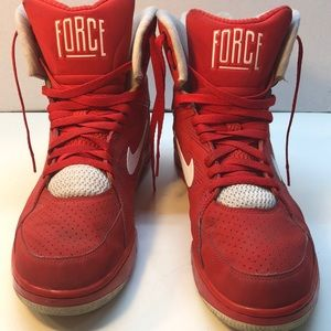 Nike Air Force 1 High Top Red White Swoosh Size 13